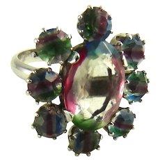 Vintage Iris Rainbow Glass Ring
