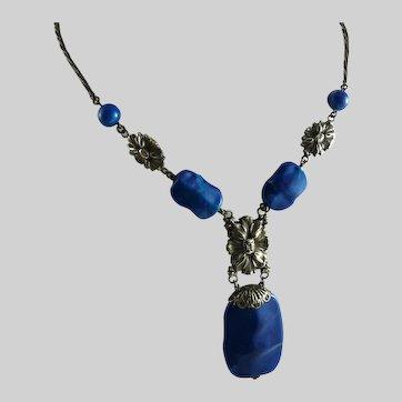 Vintage Art Deco Faux Lapis Drop Necklace