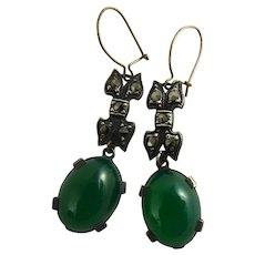Vintage Art Deco Chrysoprase Marcasite Earrings