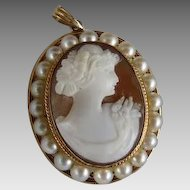Antique Edwardian Hardstone Cameo Pendant 10K Gold Surrounded by Pearls