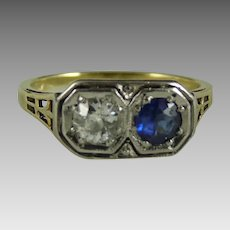 Vintage Art Deco 14K White and Yellow Gold Diamond and Sapphire Ring