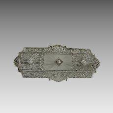 Vintage Art Deco 14K White Gold Filigree Rock Crystal and Diamond Pin