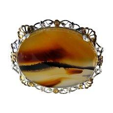 Vintage Banded Agate Pin Brooch Sterling Filigree Frame