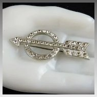 Art Deco Pin Brooch Pot Metal Rhinestone Arrow and Circle