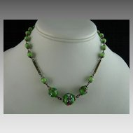 Vintage Czech Glass Wedding Cake Bead Necklace