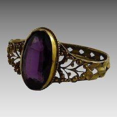Antique Victorian Bracelet Gilt Brass Filigree Amethyst Glass Stone