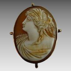 Antique Edwardian Left Facing Cameo Demeter or Ceres 10K Gold