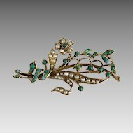 Vintage 14K Gold Turquoise and Seed Pearl Brooch