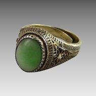 Chinese Export Filigree Jade Ring