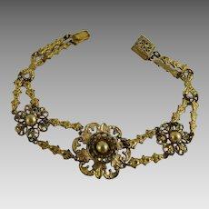 Vintage Gilt Brass Bracelet with Faux Pearls