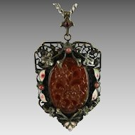 Art Deco Filigree Pendant Molded Glass and Enamel