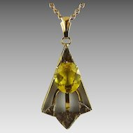 Vintage Art Deco Gold Filled Citrine Glass Lavalier Pendant