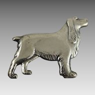 Vintage Figural Dog Pin Sterling Silver Setter or Retriever