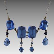 Art Deco Czech Glass Necklace Periwinkle Blue
