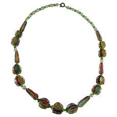 Vintage Art Deco Iris or Rainbow Glass Bead Necklace
