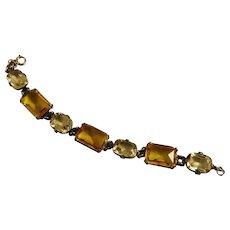 Vintage Czech Glass Bracelet Earrings Demi Parure Art Deco
