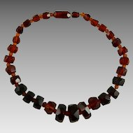 Vintage Art Deco Cherry Amber Bakelite Necklace Faceted Geometric Beads