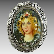 Vintage Italian 800 Silver Hand Painted Portrait Ring Primavera