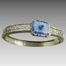 Vintage Rhodium Filigree Blue Camphor Glass Art Deco Bracelet