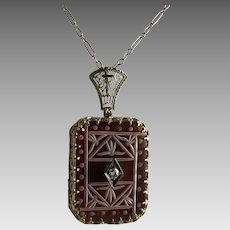 Vintage Art Deco Rock Crystal Carnelian Diamond 14K White Gold Filigree Pendant