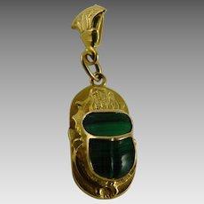 Vintage Egyptian Revival Scarab Pendant 18K Gold Malachite