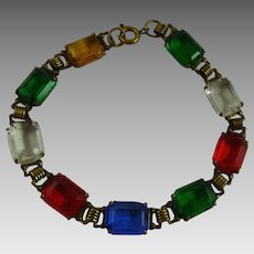 Vintage Art Deco Bracelet Open Back Faceted Glass Stones Multicolor