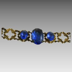 Vintage Art Deco Link Bracelet with Faceted Blue Glass Stones