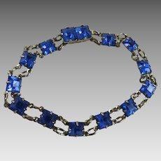 Vintage Sterling Silver Blue Glass Art Deco Bracelet