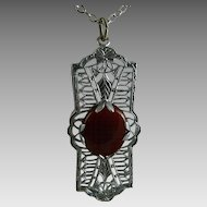 Vintage Art Deco Rhodium Filigree Pendant with Carnelian Stone