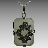 Vintage Art Deco Camphor Glass and Sterling Pendant