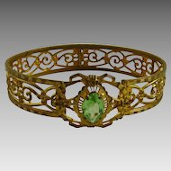 Vintage Gilt Brass Bangle Bracelet with Periodot Glass Stone Art Deco