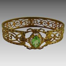 Vintage Gilt Brass Bangle Bracelet with Periodot Glass Stone Art Deco