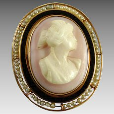 Antique Edwardian Cameo with Enamel and Seed Pearls
