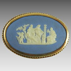 Vintage Wedgwood Jasperware Pin Blue