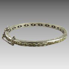 Vintage Art Deco Sterling Silver Paste Channel Set Bangle Bracelet Rhodium Finish
