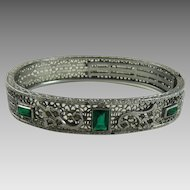 Vintage Art Deco Rhodium Filigree Bracelet Green Stones