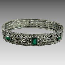 Vintage Art Deco Rhodium Filigree Bracelet Green Stones