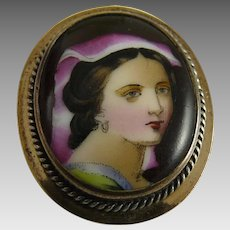 Antique Victorian Hand Painted Portrait Brooch