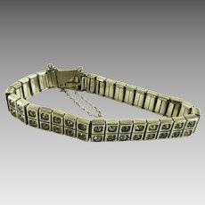 Vintage Art Deco Sterling Paste Rhinestone Bracelet