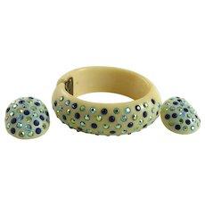 Vintage Weiss Thermoplastic Clamper Bracelet Earrings Blue Rhinestones