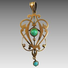 Antique Victorian Rose Gold Turquoise Lavalier