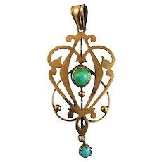 Antique Victorian Rose Gold Turquoise Lavalier