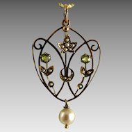 Antique Art Nouveau Pendant Lavalier 9K Gold Pearls Peridot