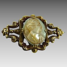 Antique Victorian Mother of Pearl Cameo Pin