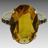 Vintage Sterling Silver and Topaz Glass Art Deco Ring
