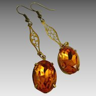 Vintage Art Deco Drop Earrings Amber Stones