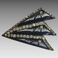 Vintage Art Deco Celluloid Rhinestone Pin