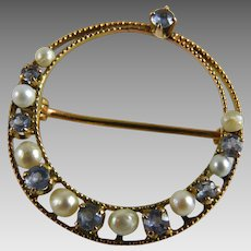 Antique Edwardian 10K Pearl Blue Topaz Circle Pin
