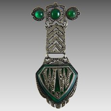 Vintage Art Deco Chrysoprase Marcasite and Sterling Drop Brooch