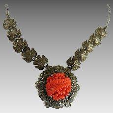 Vintage Art Deco Necklace Sterling Marcasite Faux Coral